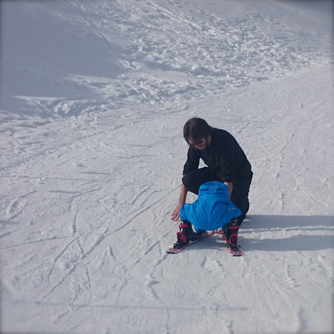 The safe way to ski is on all fours. He's quite convinced. I get it.